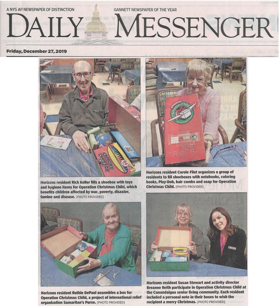 Horizons Operation Christmas Child, 12.27.19 Daily Messenger