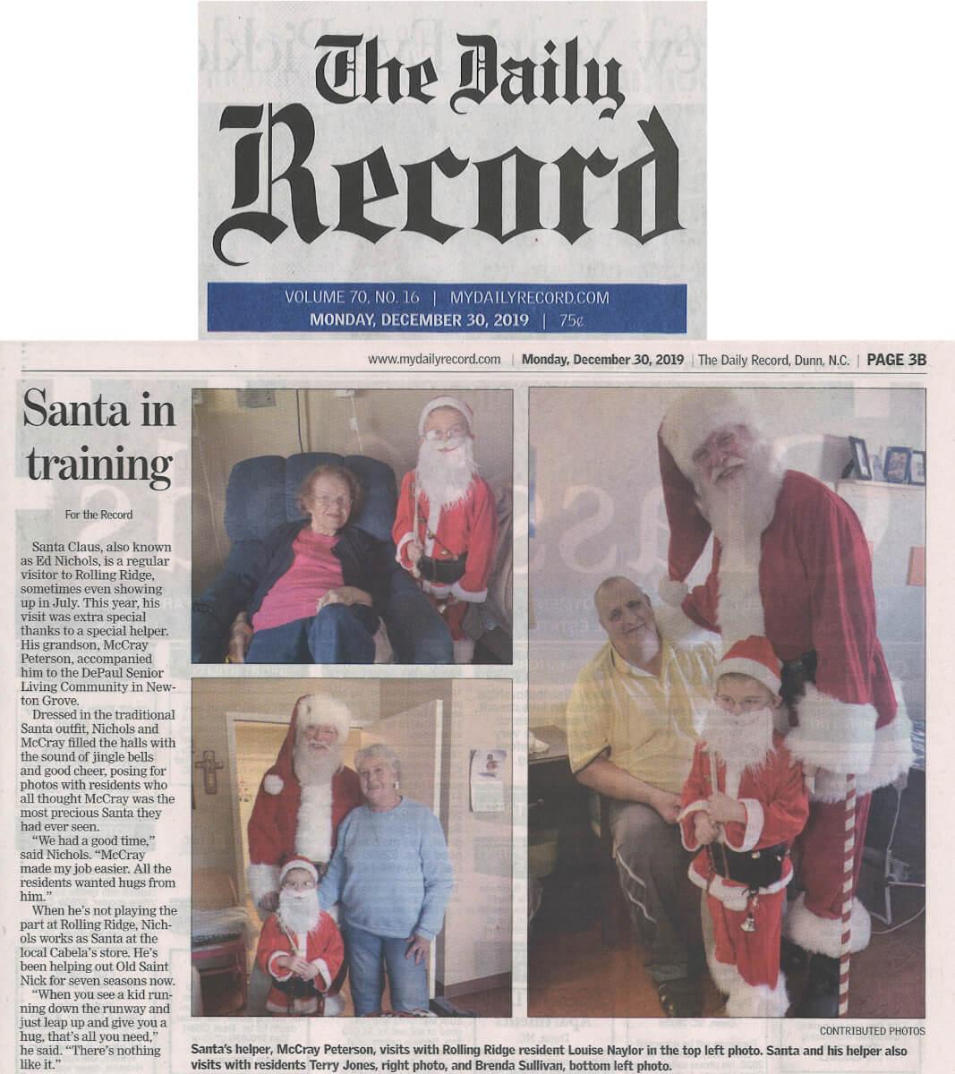 Rolling Ridge Santa In Training, 12.30.19 Daily Recorda In Training, 12.30.19 Daily Record