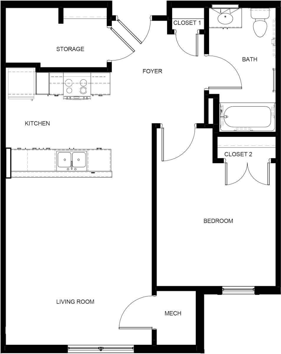 Starting Line Apartments One-Bedroom Floorplan