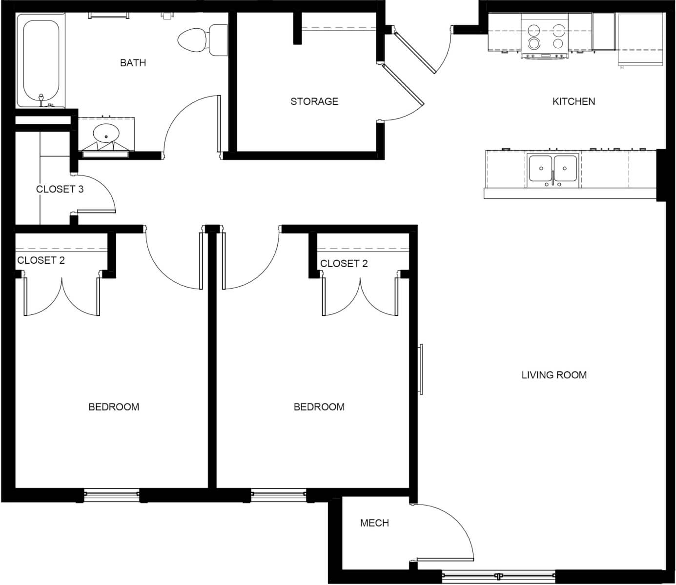 Starting Line Apartments Two-Bedroom Floorplan