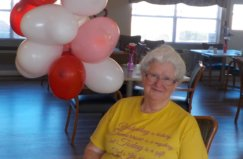 Resident Elsie Floyd enjoying the Valentine's Day festivities at Greenbrier