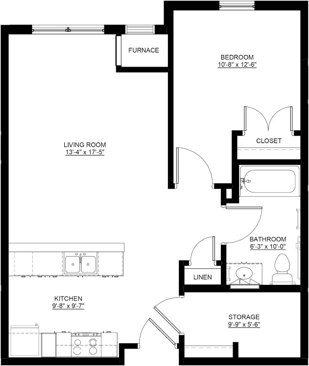 Apple Blossom Apartments One-Bedroom Apartment Floor Plan