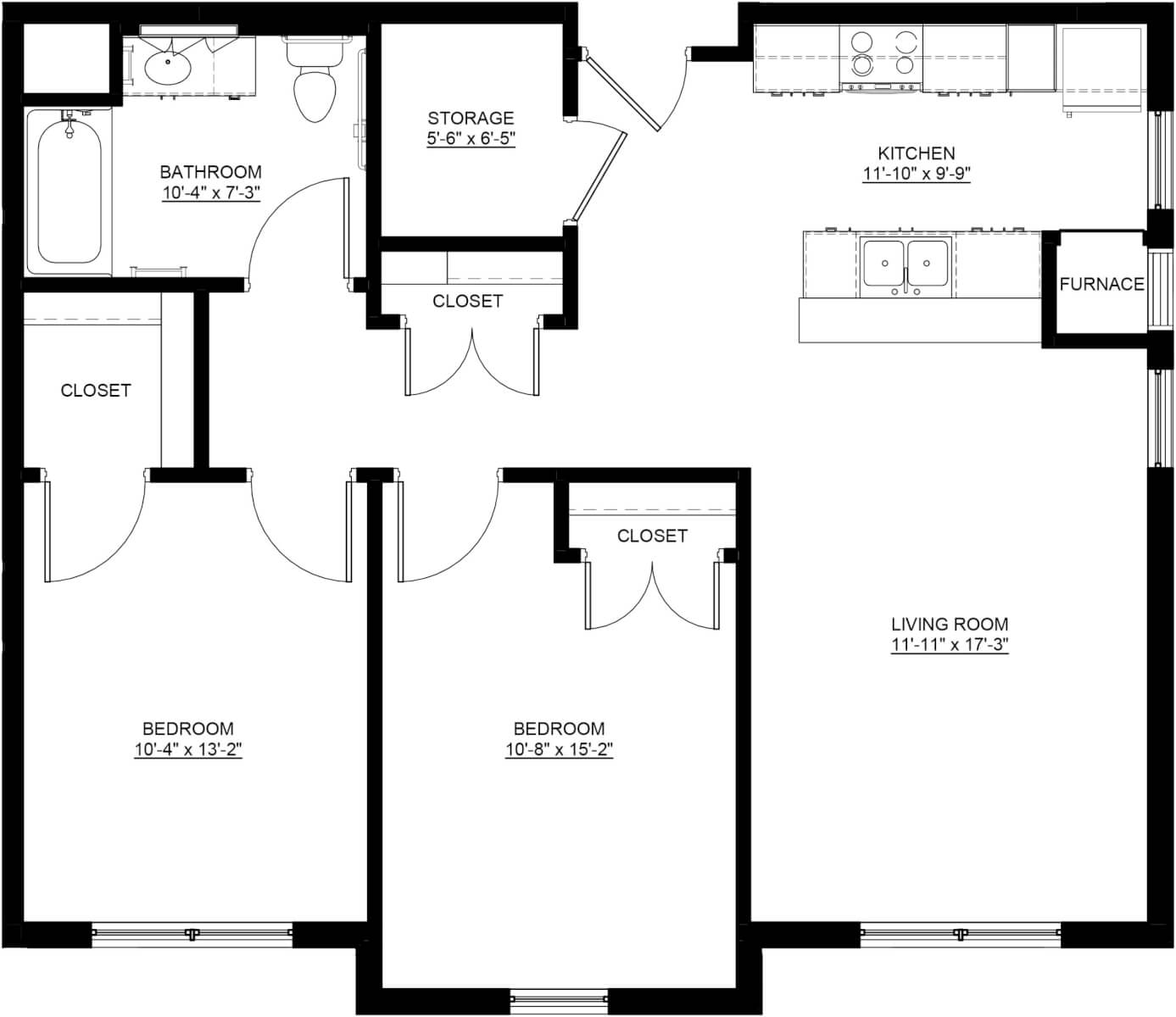 Apple Blossom Apartments Two-Bedroom Apartment Floor Plan