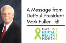 DePaul President Mark Fuller Mental Health Month 2020