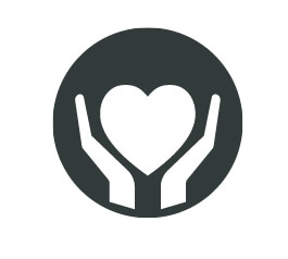 hand heart in circle icon