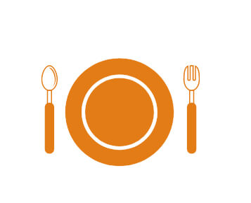 spoon and fork with plate in the center
