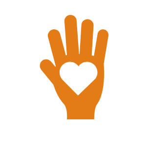 Hand with heart in center