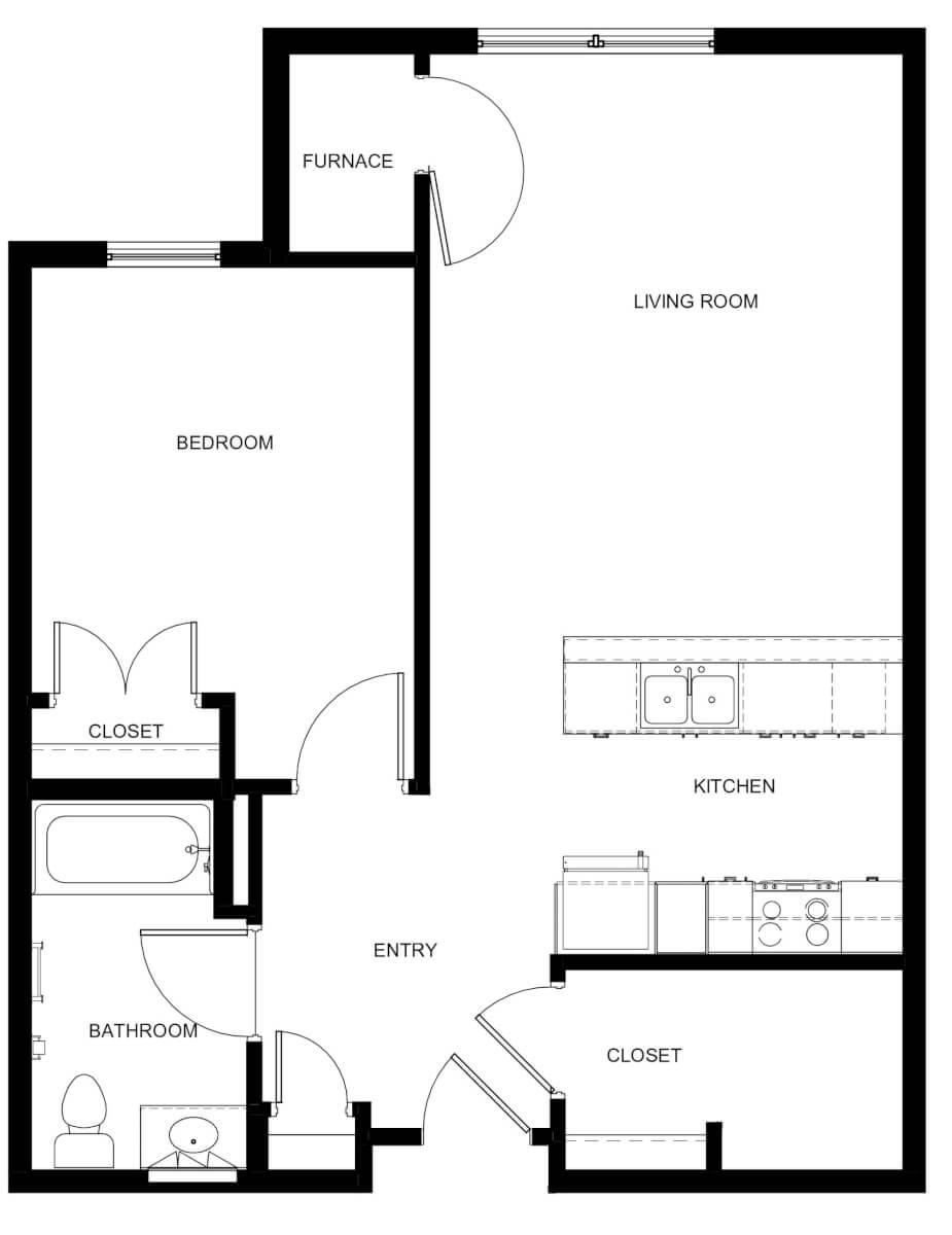 Boxcar Apartments One Bedroom Unit