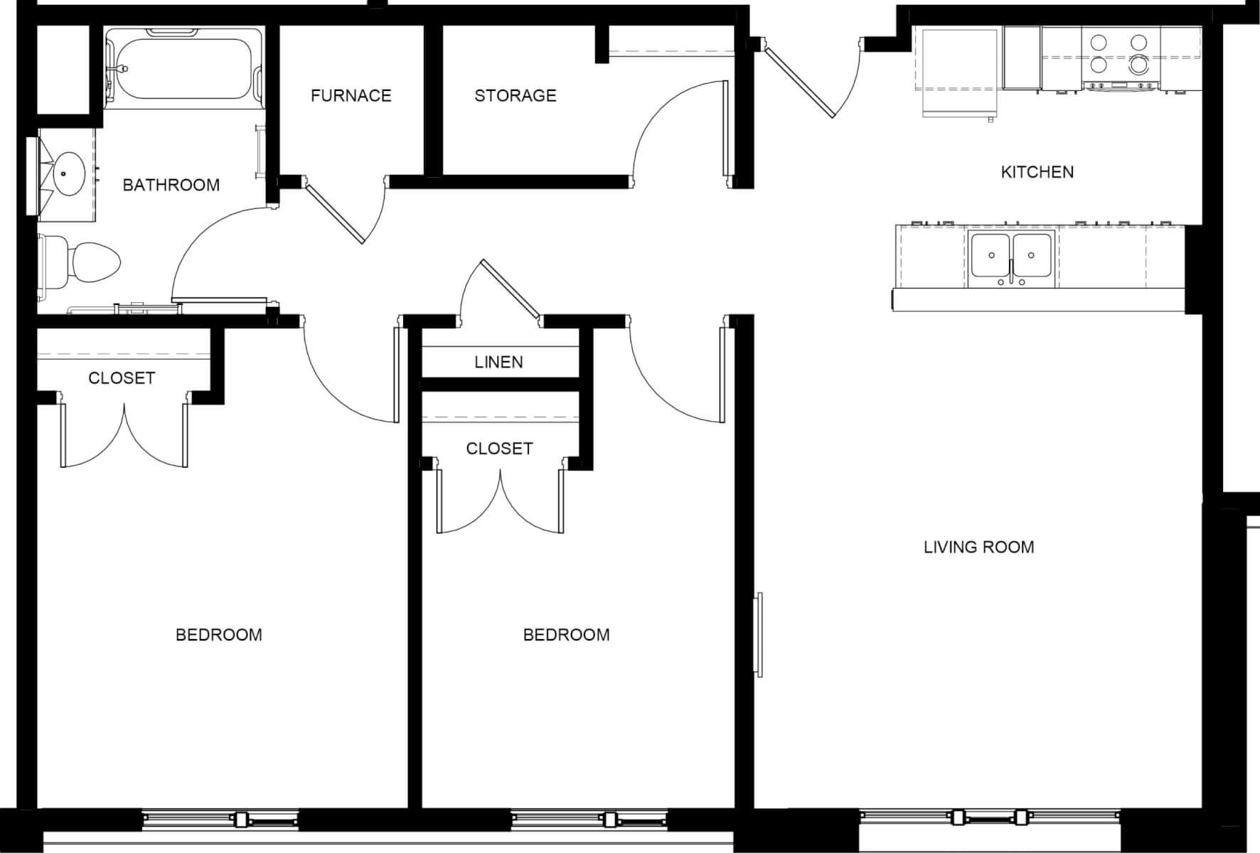 Lock 7 Apartments Two Bedroom Apartment Floor Plan